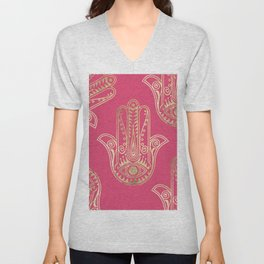 Neon pink faux gold inspirational Hamsa hand of Fatima Unisex V-Neck