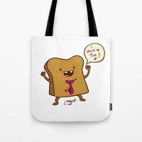 bread Tote Bags featuring bread by Melissa Ballesteros Parada