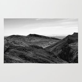 desert and mountain in black and white Rug