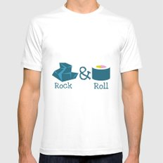 Rock&Roll MEDIUM White Mens Fitted Tee