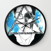 jared leto Wall Clocks featuring jared triangle leto by anxiety