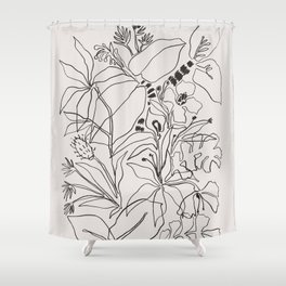 Charcoal Tropics Shower Curtain