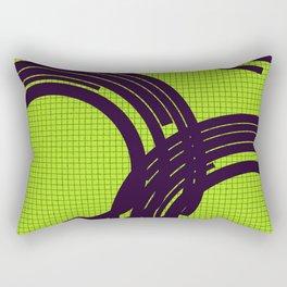 Black open rings on green Rectangular Pillow