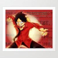 luffy Art Prints featuring Luffy  by kimiyo