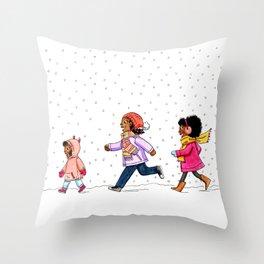 Snow kids Throw Pillow