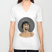 psycho V-neck T-shirts featuring Psycho by Beethowen Souza