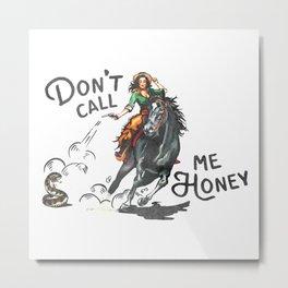 """Don't Call Me Honey"" Cowgirl On Horseback Shooting a Rattlesnake Metal Print"