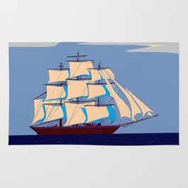 A Clipper Ship with Gray Skies, Sunset Rug