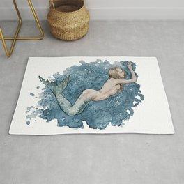 Mermaid swimming in the ocean Rug