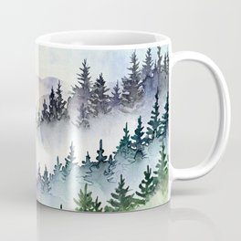 Misty Mountain Pines - Foggy Forest Watercolor Painting Coffee Mug