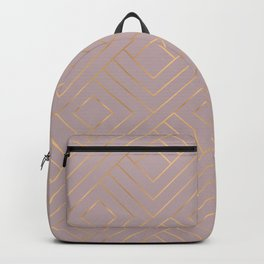 Dusty Rose Powder Pastel Gold Geometric Pattern Backpack