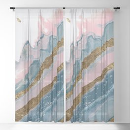 Meditation on Teal and Pink #2 Sheer Curtain