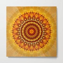 Mandala bright yellow Metal Print