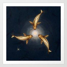 Golden Koi and Lotus Art Print