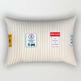 Signs on a corrugated metal wall Rectangular Pillow