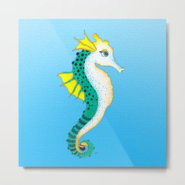 Seahorse Teal On Blue Stained Glass Metal Print