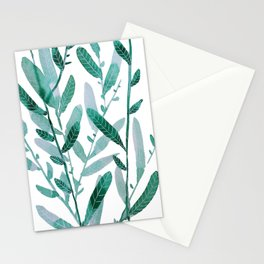greeen water color leaves Stationery Cards