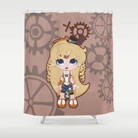 sailor venus Shower Curtains featuring Steampunk Sailor Venus - Sailor Moon by CaptainLaserBeam