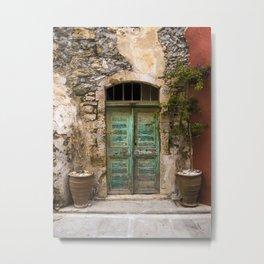 The Old Turquoise Door Metal Print