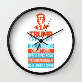Trump Republican MAGA Checklist First Gift Wall Clock