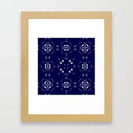 Blue and Grey Kaleidoscope Pattern #2 Framed Art Print