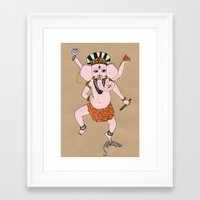 ganesha Framed Art Prints featuring Ganesha by Erika Rier