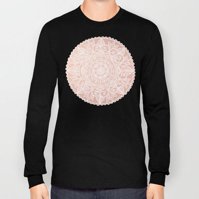 White Mandala on Rose Gold Long Sleeve T-shirt