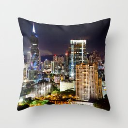 Cityscape at Night with Moon Throw Pillow