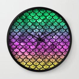 Green/Pink/Yellow Dragon Scales Wall Clock