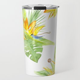 watercolor seamless pattern bird of paradise Travel Mug