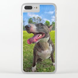 Happy Bull Terrier Clear iPhone Case