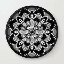 Mandala: Black Gray White Flower Wall Clock