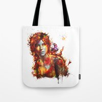 lara croft Tote Bags featuring Lara Croft by ururuty