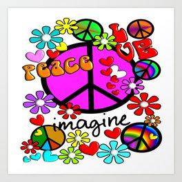 Imagine Peace Sybols Retro Style Art Print