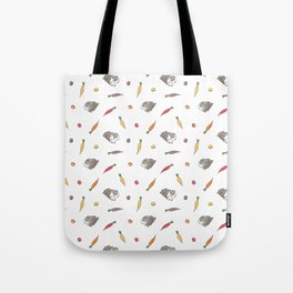 Carrot and Silkie Guinea Pig pattern in White Background Silkie Guinea Pigs illustration Tote Bag