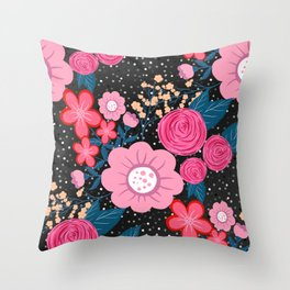 Pretty girly pink Floral Silver Dots Gray design Throw Pillow