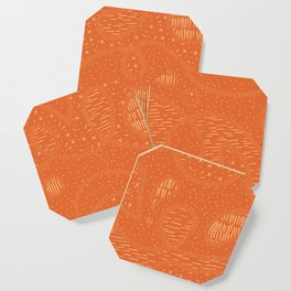 Curly Textured Abstract (Terracotta) Coaster