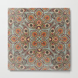 Flourish tiled oriental ethnic background. Arabic ornament with fantastic flowers and leaves. Wonderland ornamental motives of the paintings of ancient Indian floral illustration pattern. Metal Print