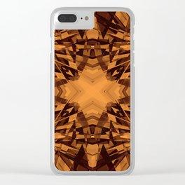 Orange kaleidoscope star pattern Clear iPhone Case
