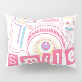 Smile and be Yourself - Pastel Camera Pillow Sham