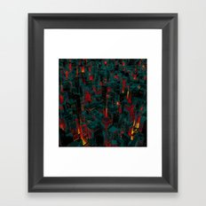 Night city glow cartoon Framed Art Print