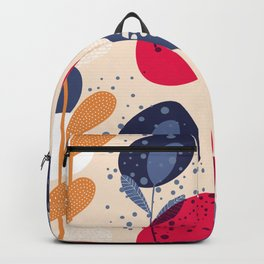 Modern Abstract Flora - Magenta, Blue, Yellow Backpack