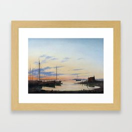 Anton Melbye 1818-1875 Copenhague Hambourg... Paris View of the Harbour. Summer evening. Framed Art Print