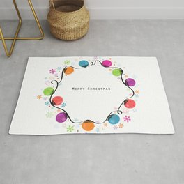 Circle Christmas light bulbs vector and snowflakes greeting card Rug