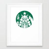 starfox Framed Art Prints featuring Starfox Coffee by Jimiyo