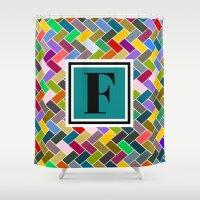 monogram Shower Curtains featuring F Monogram by mailboxdisco