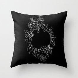 Black Floral Circle Throw Pillow