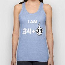 I Am 34 Plus Middle Finger Skeleton 35th Birthday Unisex Tank Top