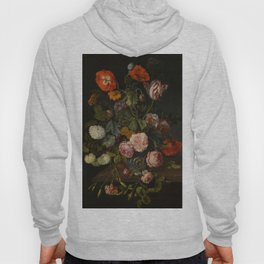 """Cornelis Kick """"A still life with parrot tulips, poppies, roses, snow balls, and other flowers"""" Hoody"""