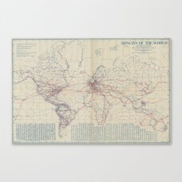 Vintage World Air Travel Map (1919) Canvas Print